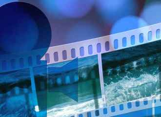 Abstract blue strip of video film