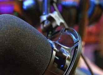 Podcast microphone in studio
